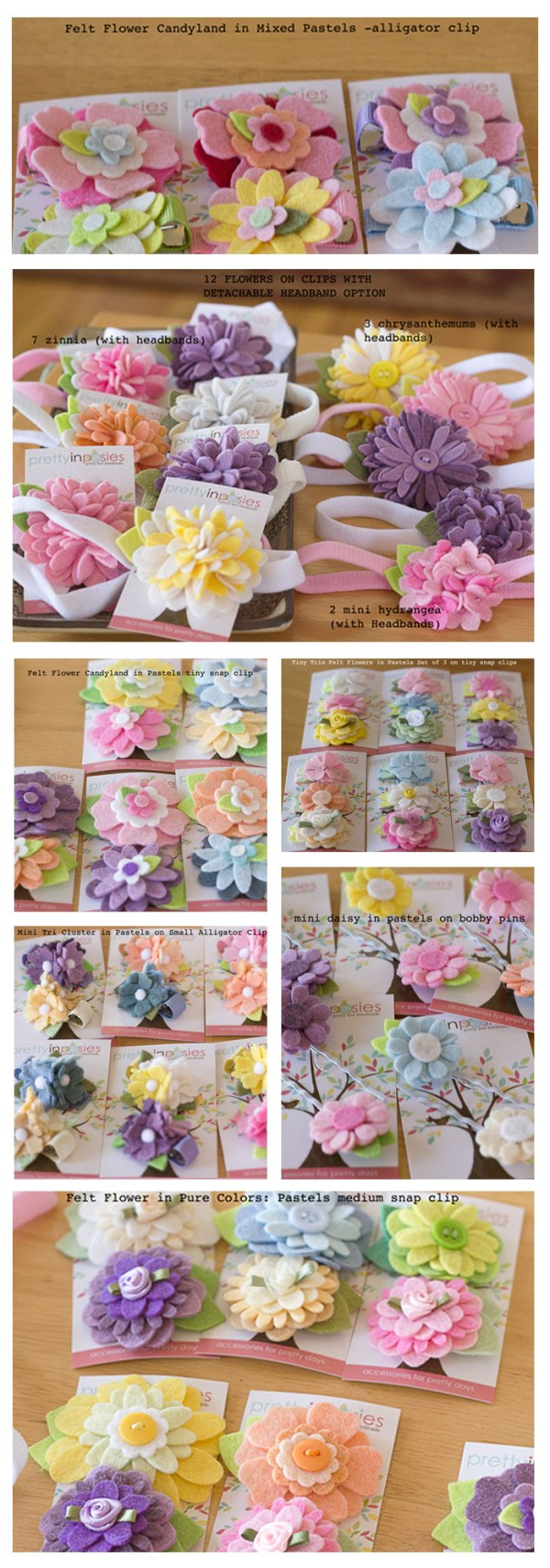 Pretty in Poses Wholesale Starter Set Felt Flower Hair Accessories